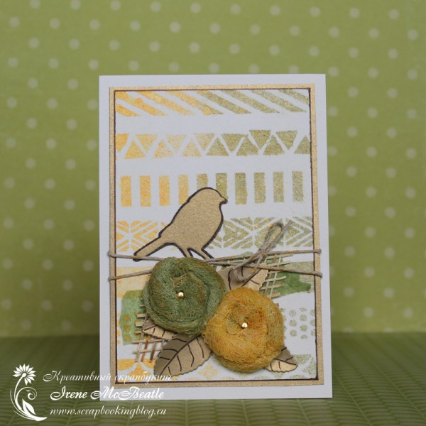 Card with Bird and Gauze Flowers