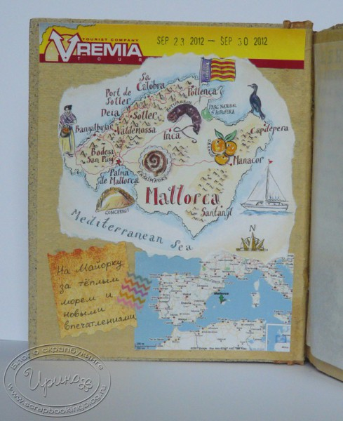 Island map – page from Majorca travel-book
