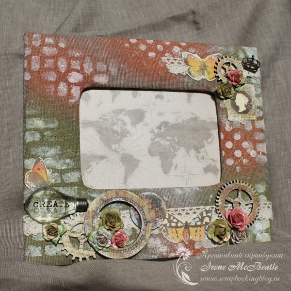 Mixed media photo frame Time Travel