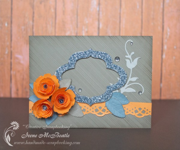 Card with orange flowers and glitter