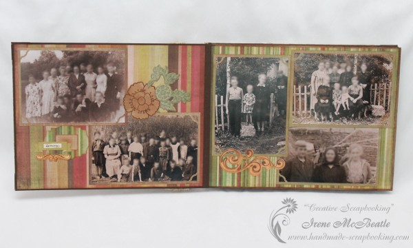 Old photos in a family scrapbook album