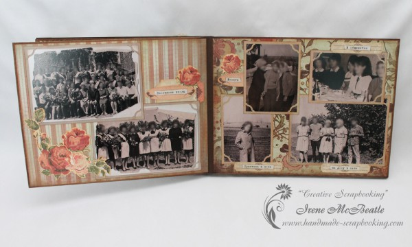 Old photographs in vintage style scrapbook album