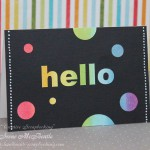 Hello Card – Rainbow Circles on Black