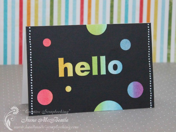 Hello Card - Rainbow Circles on Black