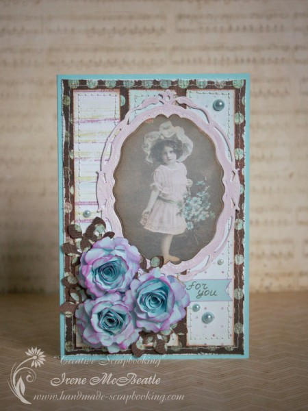 Vintage Card - Girl with Flowers