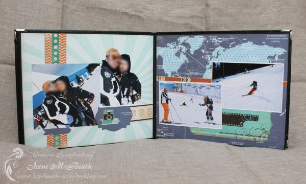 Masculine Scrapbooking Album - Layout Skiing